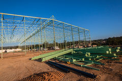 Building Steel Frame Materials Site Royalty Free Stock Image