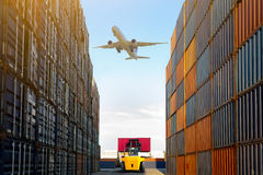 Warehouse. Container terminal under blue sky motion blur fork lift, Warehouse & shipping concept Royalty Free Stock Photo