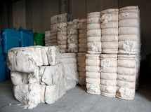 Warehouse with cotton bales Royalty Free Stock Image