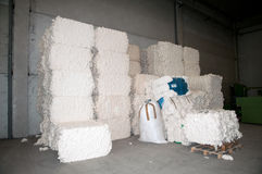 Warehouse with cotton bales Stock Photos