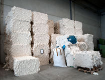 Warehouse with cotton bales Royalty Free Stock Images
