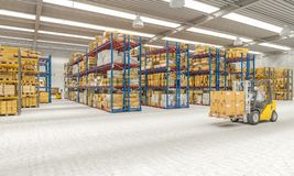 Warehouse 3d interior vector illustration
