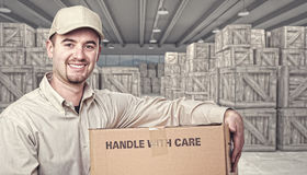 Warehouse and delivery guy vector illustration