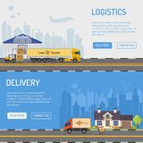 Warehouse Delivery and Logistics Banners Stock Photos
