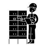 Warehouse, delivery man checking barcode on post boxes  icon, vector illustration, sign on isolated background Royalty Free Stock Photos