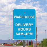 Warehouse delivery sign. Sign showing warehouse delivery hours Stock Photo