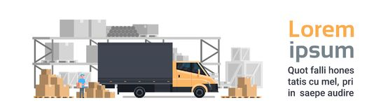 Warehouse Delivery, Truck Car Over Containers Building. Shipping And Transportation Concept Horizontal Banner With Copy. Space Flat Vector Illustration vector illustration