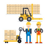 Warehouse and delivery workers. Foreman, manager and delivery boy. Modern flat style vector illustration stock photography