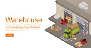 Warehouse den isometriska illustrationen 3D av magasin- och logistik- och leveranstransport Royaltyfri Illustrationer