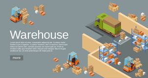 Warehouse den isometriska illustrationen 3D av modernt industriellt lager- och logistiktrans. och leveransmedel vektor illustrationer