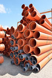 Warehouse depot for PVC pipes Stock Images