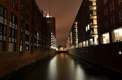 Warehouse district in Hamburg city at night Stock Photos