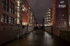 Warehouse district in Hamburg city at night Stock Images