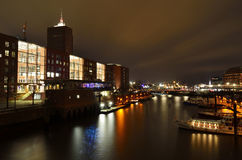 Hamburg by night. Warehouse district. Stock Photos