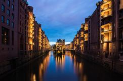 Warehouse District Hamburg, Wasserschloss Royalty Free Stock Images