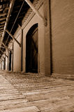 Warehouse & Dock(sepia). A sepia version of a warehouse and dock Royalty Free Stock Images