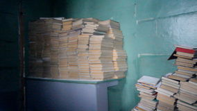 Warehouse of educational books of textbooks at school stock video