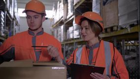 Warehouse employees in workwear and helmets discussing work and makes notes near boxes stock video footage