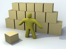 Warehouse envirnoment. 3d person on a warehouse environment royalty free illustration