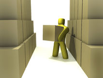 Warehouse environment. 3d person in a warehouse environment stock illustration