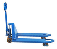 Warehouse equipment, blue Used Pallet Truck isolated on white ba Royalty Free Stock Images