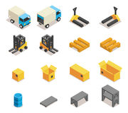Warehouse equipment icon set Stock Image