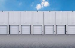 Warehouse exterior con las puertas del obturador imagenes de archivo