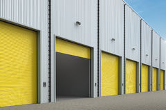 Warehouse exterior with shutter doors Royalty Free Stock Image