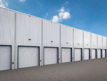 Warehouse exterior with shutter doors. 3d rendering warehouse exterior with shutter doors Royalty Free Stock Image
