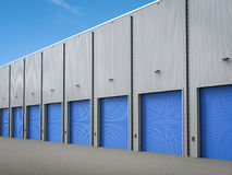 Warehouse exterior with shutter doors. 3d rendering warehouse exterior with shutter doors Royalty Free Stock Photo