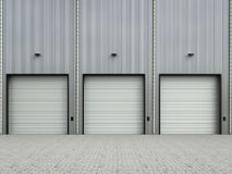 Warehouse exterior with shutter doors. 3d rendering warehouse exterior with shutter doors Royalty Free Stock Images