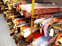 The warehouse of fabric. The warehouse of stocks of fabric and textile Royalty Free Stock Images