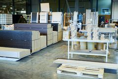 Warehouse of finished and packed doors, production of interior and metal doors stock photo