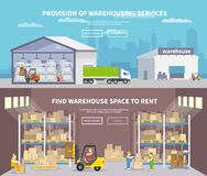 Warehouse Flat Banner Set Royalty Free Stock Photos