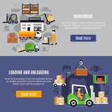 Warehouse Flat Banner Set. Two horizontal warehouse flat banner set with loading and unloading descriptions and read more buttons vector illustration Stock Photos