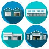 Warehouse Flat. Warehouse building flat long shadow icons set  vector illustration Royalty Free Stock Photos
