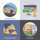 Warehouse 2x2 flat design concept. With storage building and workers loading boxes by fork lifts vector illustration Royalty Free Stock Photography