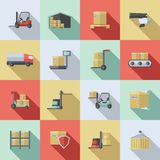 Warehouse Flat Icons Set Stock Photography
