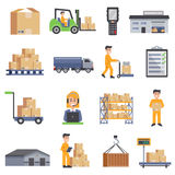 Warehouse Flat Icons Set. Warehouse  flat icons set  of delivery truck shelves with goods scales boxes container and storage workers vector illustration Stock Image