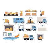 Warehouse flat set of logistics packing process Royalty Free Stock Photo