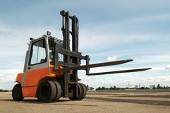 Warehouse forklift loader outdoors Royalty Free Stock Image