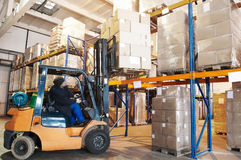 Warehouse forklift loader worker Royalty Free Stock Photos