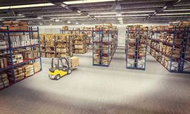 Warehouse full of goods. View of a warehouse full of goods and a forklift in action. 3d image render. trade and logistics concept stock illustration