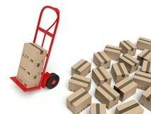 Warehouse hand truck and many cardboard boxes Stock Photography