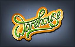 Warehouse handwritten logo. Warehouse calligraphic handwritten orange logo Stock Photos