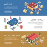 Warehouse Horizontal Banners. With liquids storage and materials store building isometric images vector illustration Royalty Free Stock Images
