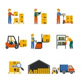Warehouse Icon Flat. Set with forklift cart service manager isolated vector illustration Royalty Free Stock Photography