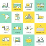 Warehouse icons flat line Royalty Free Stock Images