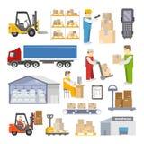 Warehouse Icons Flat Royalty Free Stock Photo