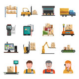 Warehouse Icons Flat Royalty Free Stock Image